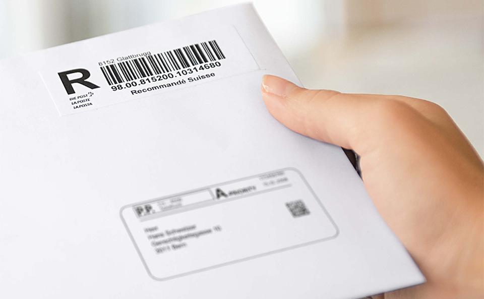 Hilfsmittel f r sendungen mit barcode die post for Schneider katalog bestellen privat